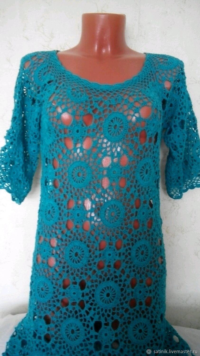 Dress knitted the deep Sea, Dresses, Kamyshin,  Фото №1