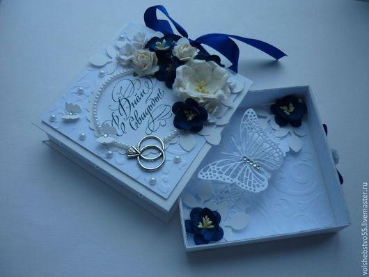 """Конверты для денег ручной работы. Ярмарка Мастеров - ручная работа. Купить Свадебная коробочка для денег """" Синее на белом"""". Handmade."""
