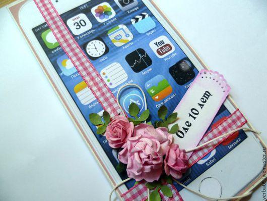 """Открытки на день рождения ручной работы. Ярмарка Мастеров - ручная работа. Купить Открытка """"Айфон"""". Handmade. Бледно-розовый, штампинг"""
