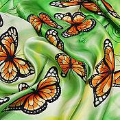 """Аксессуары ручной работы. Ярмарка Мастеров - ручная работа Шарф атласный """"Цвет лета"""" батик. Handmade."""