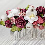 """Свадебный салон ручной работы. Ярмарка Мастеров - ручная работа гребень """"Вечерние розы"""" свадебный бордовый цветочный. Handmade."""