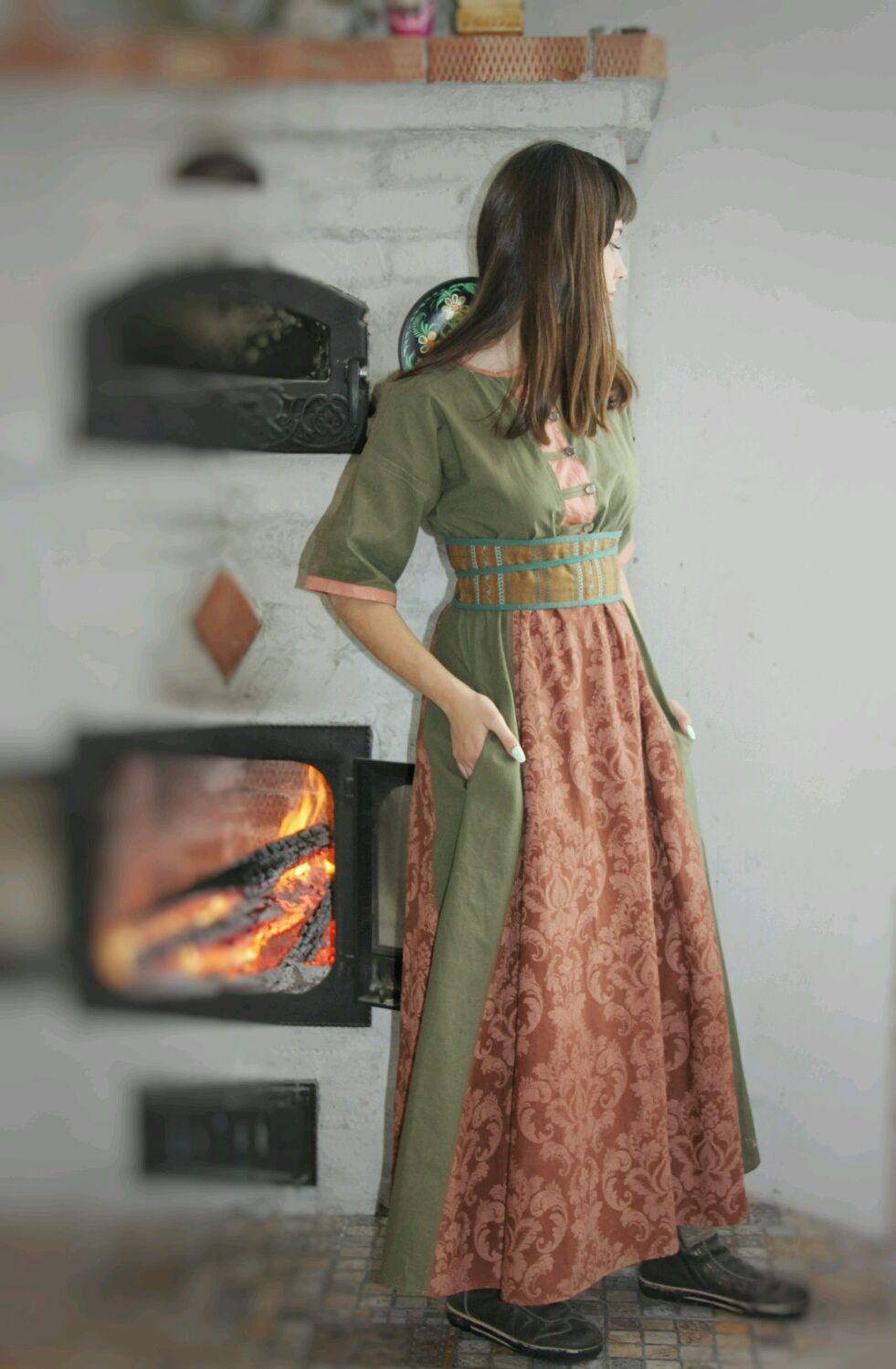 Платье Хаки с Коричневой вставкой, Платья, Новосибирск,  Фото №1