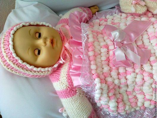 Для новорожденных, ручной работы. Ярмарка Мастеров - ручная работа. Купить комплект  для новорожденной малышки. Handmade. Детская одежда, микрополиэстер
