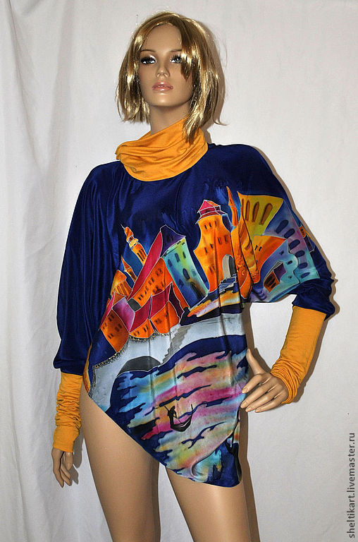 """Блузки ручной работы. Ярмарка Мастеров - ручная работа. Купить Батик пуловер""""Венеция"""". Handmade. Блузка батик, авторская одежда"""