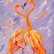 Картины и панно handmade. Livemaster - original item Oil painting on canvas. Love the color Flamingo.. Handmade.