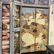 Дизайн и реклама ручной работы. Ярмарка Мастеров - ручная работа Роспись холодильника домики в стиле наив. Handmade.