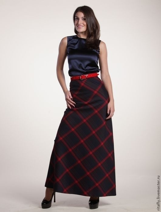 длинная юбка колокол из шерсти, юбка макси в клетку