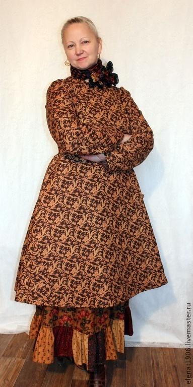 Верхняя одежда ручной работы. Ярмарка Мастеров - ручная работа. Купить Кафтан на борах. Handmade. Коричневый, народный крой