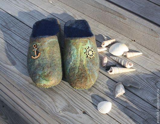 Обувь ручной работы. Ярмарка Мастеров - ручная работа. Купить Тапочки -  Морское путешествие. Handmade. Талисман, тапки, уют в доме