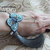 """Украшения ручной работы. Ярмарка Мастеров - ручная работа Браслет """"Серо-голубая бабочка"""". Handmade."""