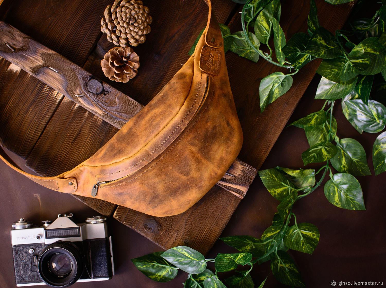 Поясная сумка кожаная HILTON цвет Сахара, Поясная сумка, Тула,  Фото №1