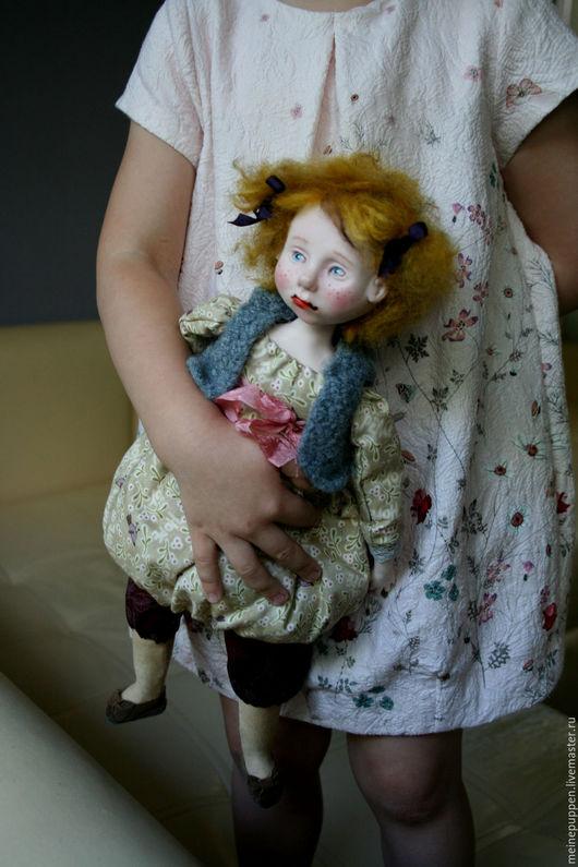 Коллекционные куклы ручной работы. Ярмарка Мастеров - ручная работа. Купить Розовый зайчик. Handmade. Бежевый, handmade, кукла-болтушка