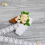 """Украшения ручной работы. Ярмарка Мастеров - ручная работа Брошь с розой """"Розовое мороженое"""". Handmade."""