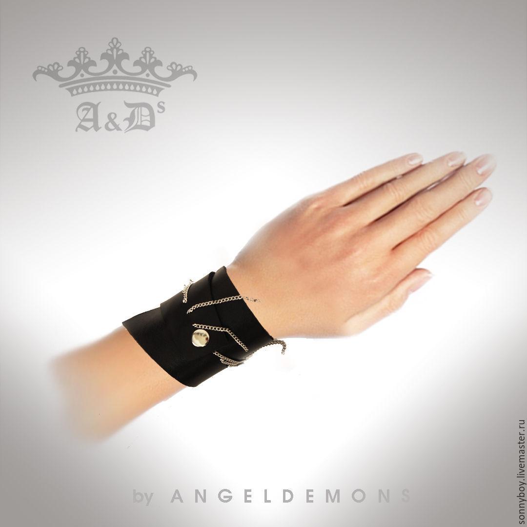 Браслет из кожи - Asymmetrical Silver Chain Bracelet
