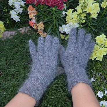 Accessories handmade. Livemaster - original item Grey down gloves for women. Handmade.