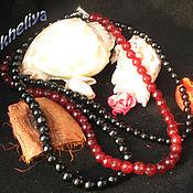 """Колье ручной работы. Ярмарка Мастеров - ручная работа Колье из черного и красного агата в три ряда """"Классика"""". Handmade."""