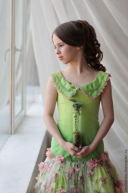 Одежда для девочек, ручной работы. Ярмарка Мастеров - ручная работа. Купить Платье ВЕСНА. Handmade. Ярко-зелёный, батист