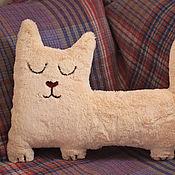 Для дома и интерьера handmade. Livemaster - original item Interior soft toy Sleepy cat made of artificial fur. Handmade.