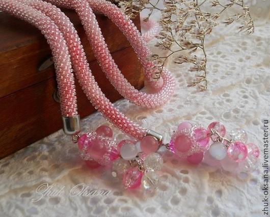 Лариаты ручной работы. Ярмарка Мастеров - ручная работа. Купить Лариат жгут вязаный из бисера Розовый рассвет. Handmade. Жгут