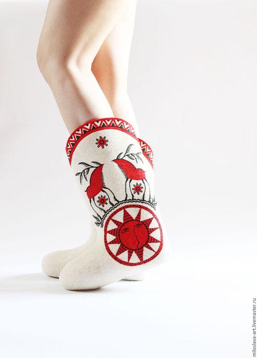 """Обувь ручной работы. Ярмарка Мастеров - ручная работа. Купить Валенки """"Ярило"""". Handmade. Ярко-красный, русский сувенир"""