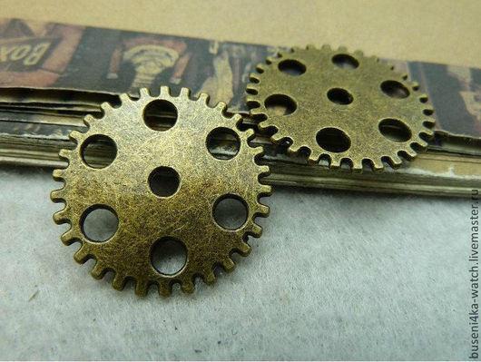 Для украшений ручной работы. Ярмарка Мастеров - ручная работа. Купить Коннектор Шестеренка №6, античная бронза (1шт). Handmade.