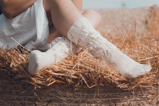 Носки, Чулки ручной работы. Ярмарка Мастеров - ручная работа. Купить гольфы ажурные. Handmade. Белый, гольфы, носки