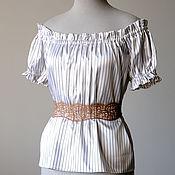 Одежда ручной работы. Ярмарка Мастеров - ручная работа Стимпанк топ с открытыми плечами топ в полоску летняя блуз. Handmade.