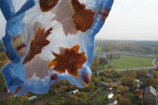 Шарфы и шарфики ручной работы. Ярмарка Мастеров - ручная работа. Купить Валяный шарф из шерсти и шелка Листопад, нуновойлок. Handmade.