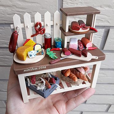 Dolls & toys handmade. Livemaster - original item Collectible miniature Cheese counter display case for dolls. Handmade.