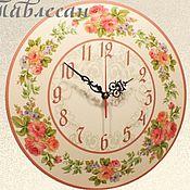 """Для дома и интерьера ручной работы. Ярмарка Мастеров - ручная работа Часы настенные """"Летние розы"""". Handmade."""