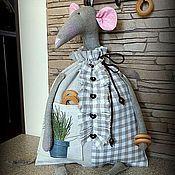 Для дома и интерьера ручной работы. Ярмарка Мастеров - ручная работа У вас на кухне МЫШЬ !!!! (пакетница). Handmade.