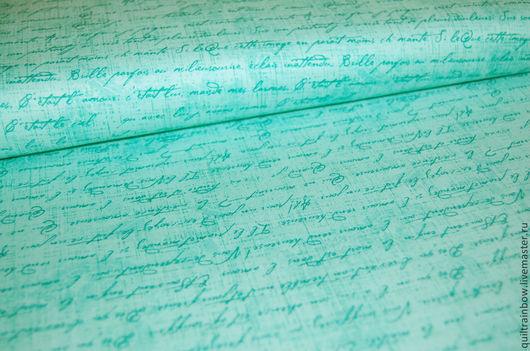 """Шитье ручной работы. Ярмарка Мастеров - ручная работа. Купить Хлопок """"Рукописи на бирюзовом"""". Handmade. Хлопок, ткань для рукоделия, квилтинг"""