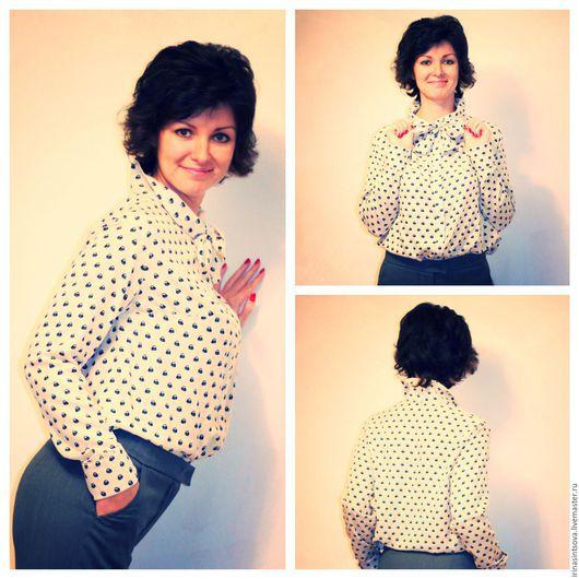 """Блузки ручной работы. Ярмарка Мастеров - ручная работа. Купить Рубашка-блуза """"Совушки"""" (костюм """"Маэстро""""). Handmade. Блуза"""