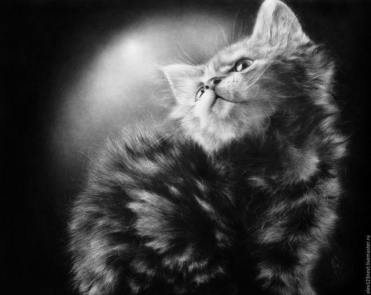 Животные ручной работы. Ярмарка Мастеров - ручная работа. Купить Котёнок. Handmade. Серебряный, котенок, свет, животные, масло, графит