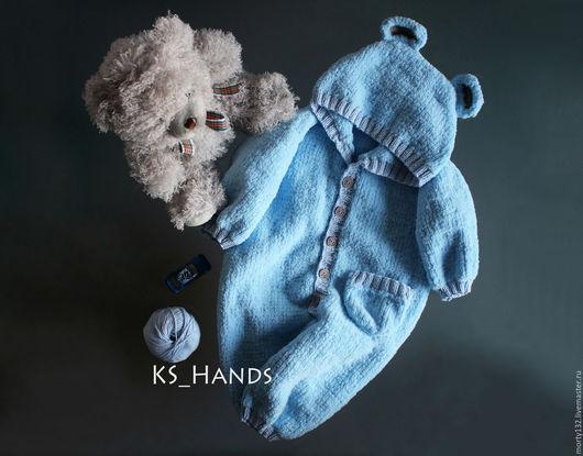 """Одежда ручной работы. Ярмарка Мастеров - ручная работа. Купить Сплюшик """"Тедди"""". Handmade. Голубой, однотонный, комбез, новорожденному"""