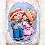 Пряничная открытка Поцелуйчики. Кулинарный сувенир