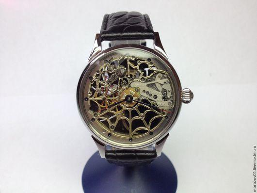 Часы ручной работы. Ярмарка Мастеров - ручная работа. Купить Часы ручной работы. Молния паучок скелетон 12. Handmade.