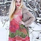 """Одежда ручной работы. Ярмарка Мастеров - ручная работа Платье """"Зимняя роза"""" вязаное спицами и крючком. Handmade."""