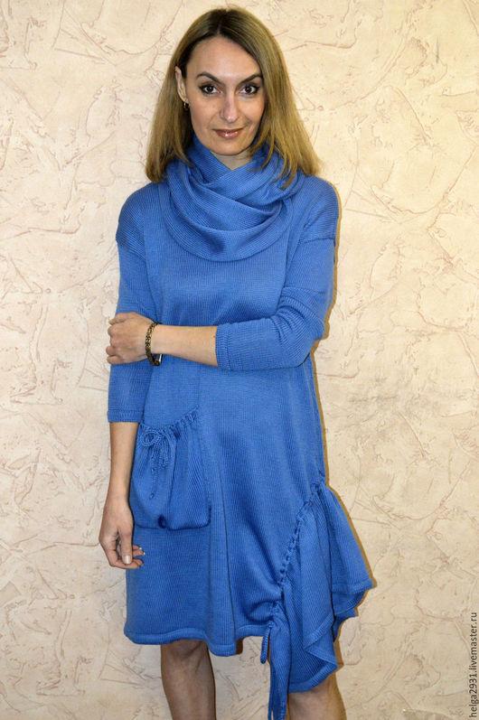 Платья ручной работы. Ярмарка Мастеров - ручная работа. Купить Платье свободное с карманом и снудом. Handmade. Голубой, бохо