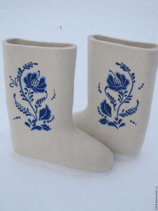 """Обувь ручной работы. Ярмарка Мастеров - ручная работа. Купить Валенки """" Гжель"""". Handmade. Белый, Валяние, синий цвет"""