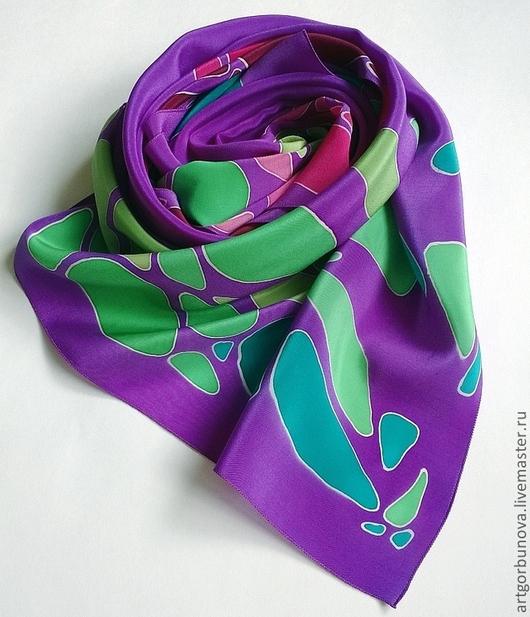 """Шарфы и шарфики ручной работы. Ярмарка Мастеров - ручная работа. Купить Шарф """"Драгоценные камни"""". Handmade. Фиолетовый, батик шарф"""