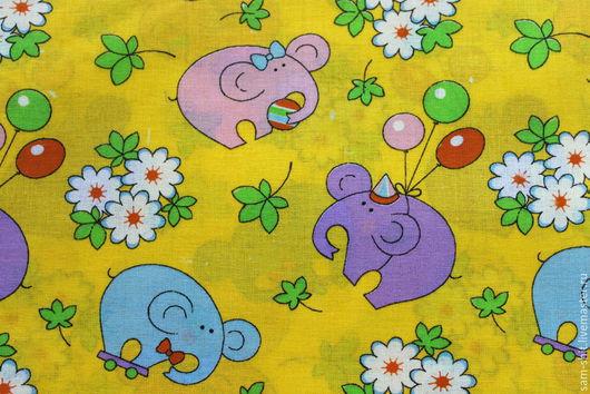 Шитье ручной работы. Ярмарка Мастеров - ручная работа. Купить Хлопок слоники 50х40 см. Handmade. Желтый, ткань для творчества