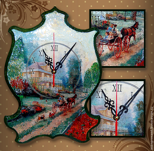 """Часы для дома ручной работы. Ярмарка Мастеров - ручная работа. Купить Часы """"Дорога домой"""". Handmade. Часы, настенные часы"""