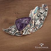 Украшения handmade. Livemaster - original item Brooch silver Starry night (charoite, silver). Handmade.