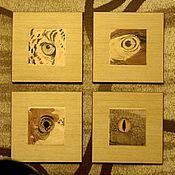 """Картины и панно ручной работы. Ярмарка Мастеров - ручная работа Комплект """"ГЛАЗА"""" (Глаз Леопарда;Глаз Орла:Глаз Карпа;Глаз Удава). Handmade."""