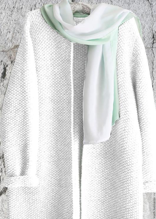 Верхняя одежда ручной работы. Ярмарка Мастеров - ручная работа. Купить Пальто Оверсайз Вязаное Норка (Белый цвет). Handmade.