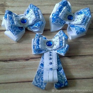 Works for children handmade. Livemaster - original item Set of bows and bow-brooch