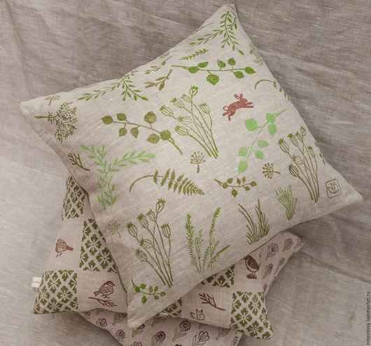 Текстиль, ковры ручной работы. Ярмарка Мастеров - ручная работа. Купить декоративная наволочка на подушку. Handmade. Зеленый, орнамент на ткани
