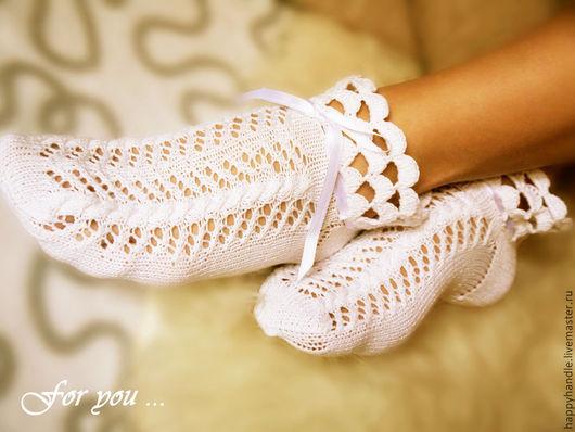 Носки, Чулки ручной работы. Ярмарка Мастеров - ручная работа. Купить Белые хлопковые кружевные носочки. Handmade. Белый, носочки