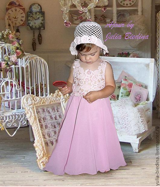 Одежда для девочек, ручной работы. Ярмарка Мастеров - ручная работа. Купить Очарование ирландского кружева. Handmade. Бледно-розовый